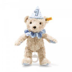 STEIFF FIRST BIRTHDAY BOY TEDDY BEAR WITH MUSICAL BOX