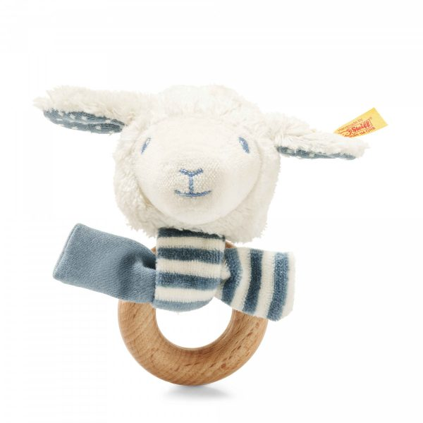 STEIFF LENO LAMB GRIP TOY WITH RATTLE - TEAL
